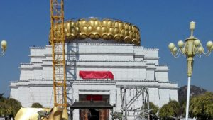 Sólo queda la base de loto después de la demolición de la estatua de Guanyin