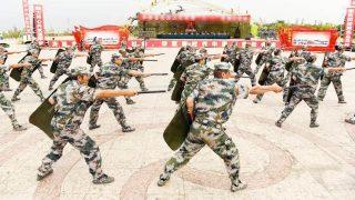 Militiamen en ejercicios