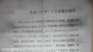 Notificación dirigida a familiares de detenidos