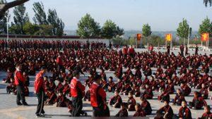 Estudiantes en una escuela de artes marciales del Templo Shaolin