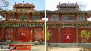 Las entradas frontal y trasera del templo de Fojing han sido bloqueadas con cinta.