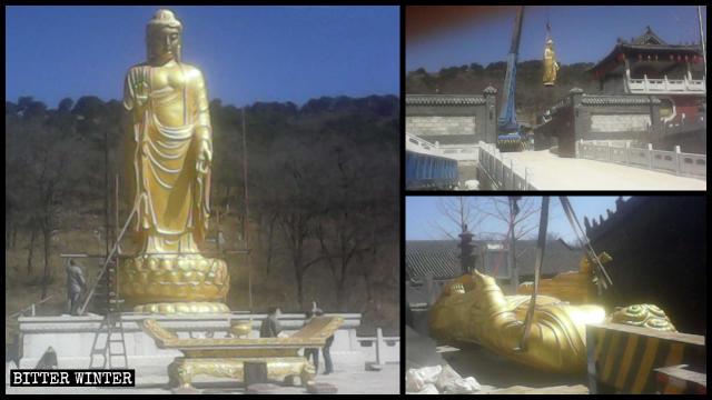 La estatua de Buda en el templo de Yongning antes y después de su remoción.