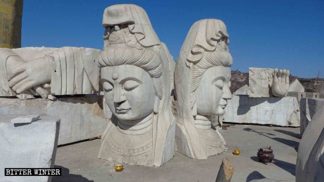 La estatua de Guanyin fue destruida.