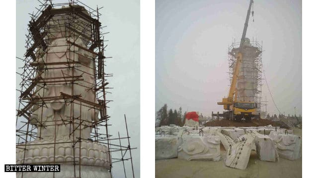 La estatua de piedra de Guanyin de los Cuatro Rostros fue destruida.