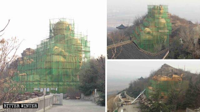 Tomó 17 días demoler la estatua de Maitreya del cementerio de Longfeng