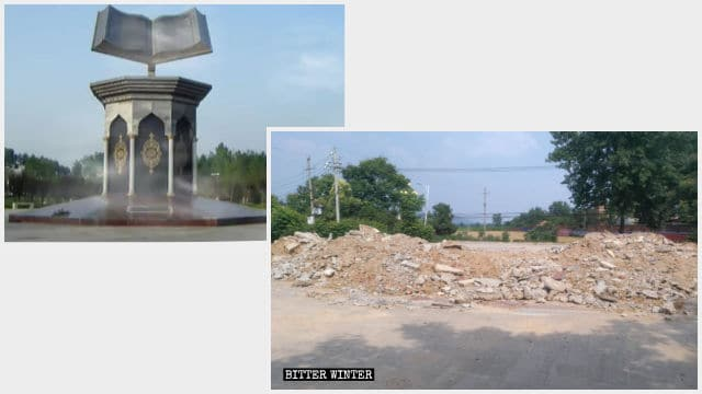Una escultura del Corán de 10 metros de alto en la Plaza Minzu fue demolida en abril pasado.