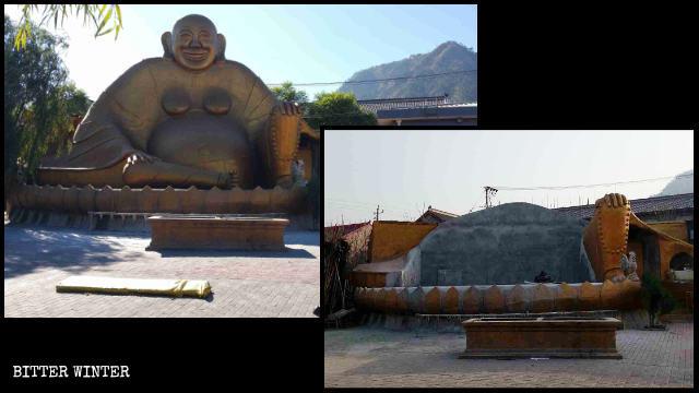 El Buda Amitabha que se hallaba en un templo situado en la montaña de Jingzhong fue demolido.