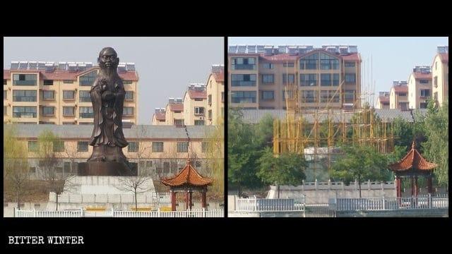 La estatua híbrida con el cuerpo de Guanyin y la cabeza de Confucio fue demolida.