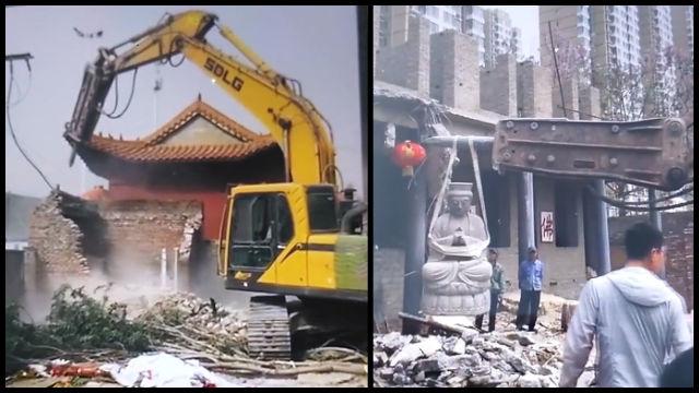 Captura de pantalla de un video publicado en WeChat en el que se muestra el Templo de Zhantan destruido.