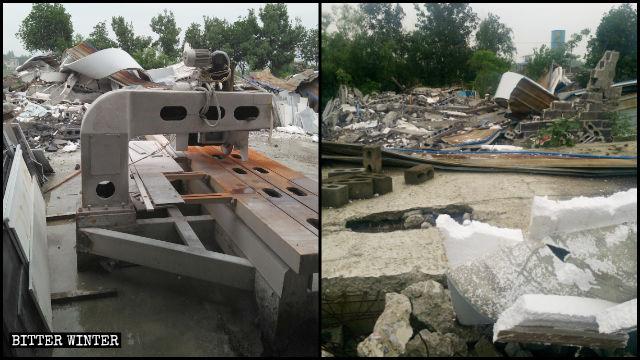 En el condado de Chongyang de la provincia de Hubei, los edificios de 13 empresas privadas, situados a lo largo de la Carretera Nacional 106, fueron demolidos por la fuerza.