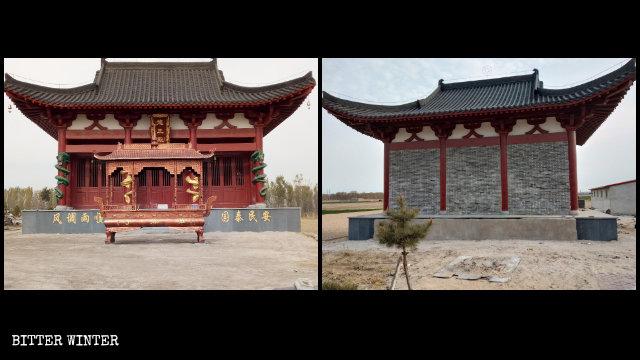La entrada a la Sala de Longwang fue tapiada con ladrillos y el quemador de incienso que solía estar situado frente a la misma fue removido.