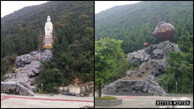 La estatua de Nanhai Kwan Yin fue reemplazada por la escultura de una tetera.