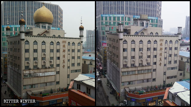 Mezquita de Lüzheng antes y después de que su cúpula y los símbolos de luna creciente fueran eliminados.