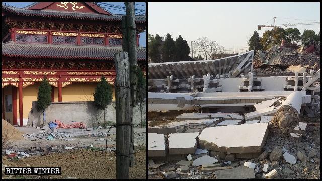 Sala principal del Templo de Xi antes y después de ser demolida.