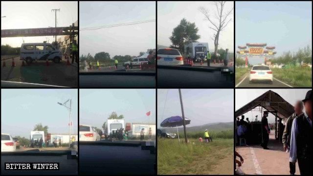 La policía estableció puestos de control en la carretera que conduce al sitio de peregrinación situado en la Montaña de Mozi.