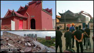 Los aldeanos no pudieron evitar que un ancestral templo fuera demolido (Video)