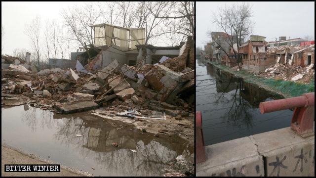 En el poblado de Moling bajo la jurisdicción de la ciudad de Xiangcheng, más de 300 casas y tiendas fueron demolidas por la fuerza.