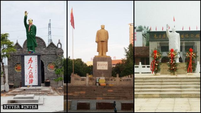 A lo largo de todo el país se erigen estatuas de Mao Zedong al aire libre.