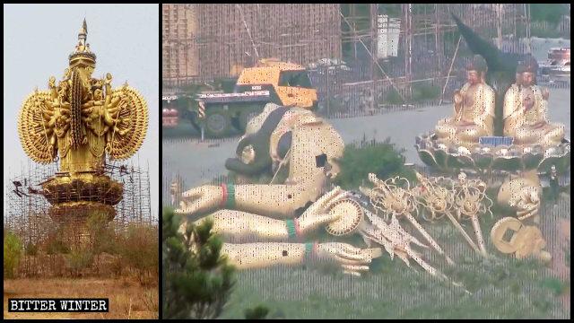 """Partes extraídas de la estatua del """"Bodhisattva Kwan Yin de las mil manos""""."""