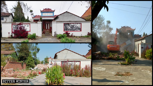 El Templo de Tianfu, el cual se hallaba emplazado en el poblado de Xintan, fue demolido el 6 de septiembre.