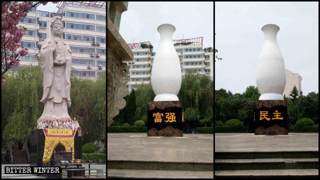 """Estatua de Kwan Yin antes y después de ser """"embalada"""" en un gran jarrón de fibra de vidrio."""