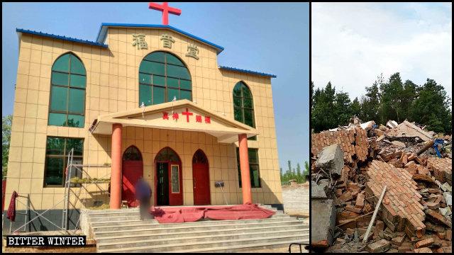 Iglesia de las Tres Autonomías emplazada en el condado de Hua antes y después de ser demolida.