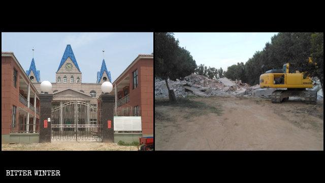 Iglesia de las Tres Autonomías emplazada en el condado de Wuzhi antes y después de ser demolida.