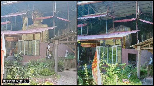 Una estatua budista de 8 metros de altura situada en el Templo de Longquan del poblado de Dade fue demolida.
