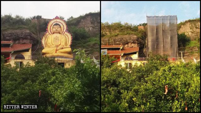Una estatua de Tathagata, de aproximadamente 10 metros de altura, que se hallaba situada en el Templo de Shuangquan del poblado de Changsha fue destruida.