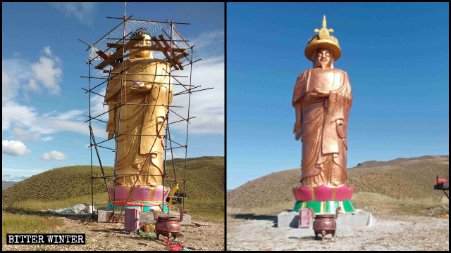 La cabeza de la estatua del Buda Amitabha ha sido reemplazada por la del emperador Kangxi.