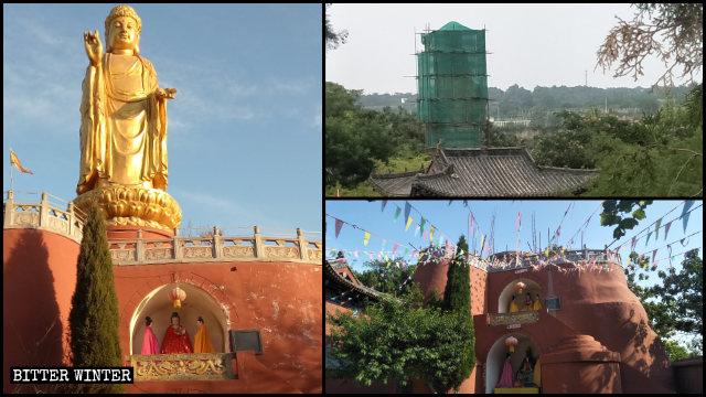 La estatua de Buda que se hallaba situada en el Templo de Longxing primero fue cubierta y luego demolida.