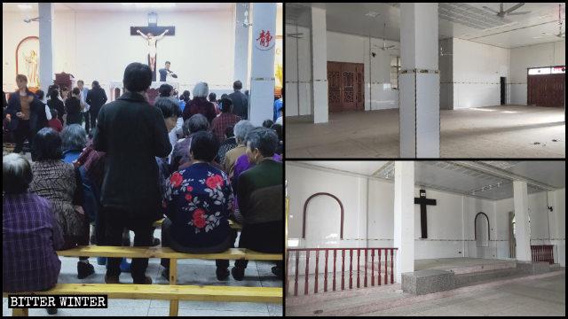 La iglesia católica antes y después de ser vaciada.