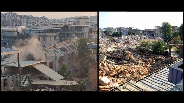 Un lugar de reunión aprobado por el Estado emplazado en la aldea de Gaohu fue convertido en una pila de escombros.