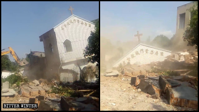 Una iglesia de las Tres Autonomías emplazada en la aldea de Liangcuo fue demolida y convertida en ruinas.