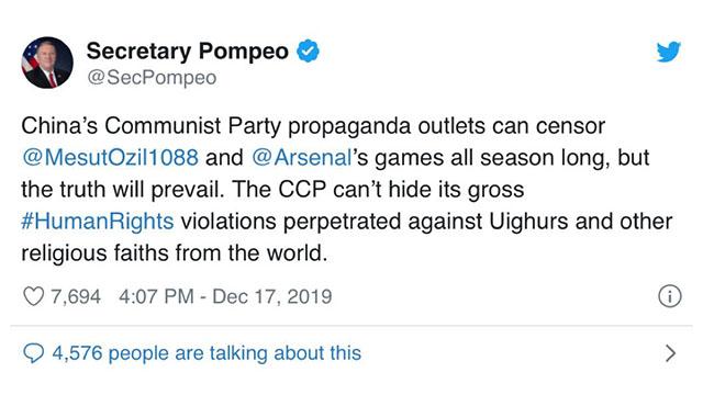 El secretario de Estado de Estados Unidos, Mike Pompeo, apoyó a Özil en Twitter.