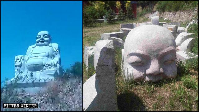 Estatua budista situada en el poblado de Baiqi antes y después de ser demolida.