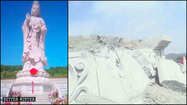 Estatua de Kwan Yin situada en el Templo de Qingyun antes y después de ser derribada.