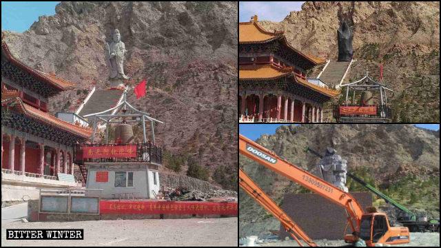 La estatua de Kwan Yin primero fue cubierta y luego demolida.