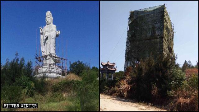 La estatua de Kwan Yin situada en la ciudad de Putian, en Fujian, fue cubierta con una red negra.