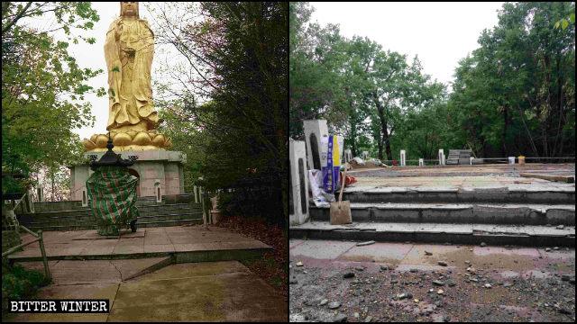 La estatua de Linhai Kwan Yin antes y después de ser demolida.
