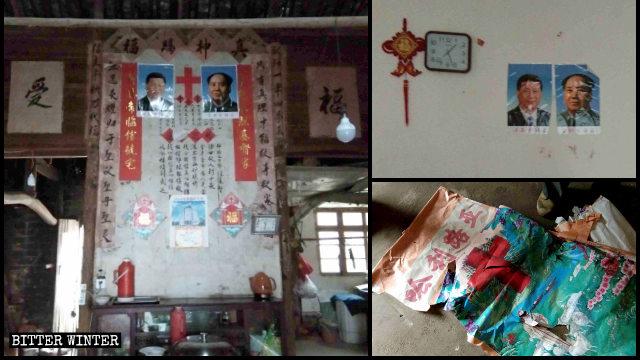 Los símbolos religiosos existentes en los hogares de los creyentes fueron destruidos y reemplazados por retratos de Xi Jinping y Mao Zedong.