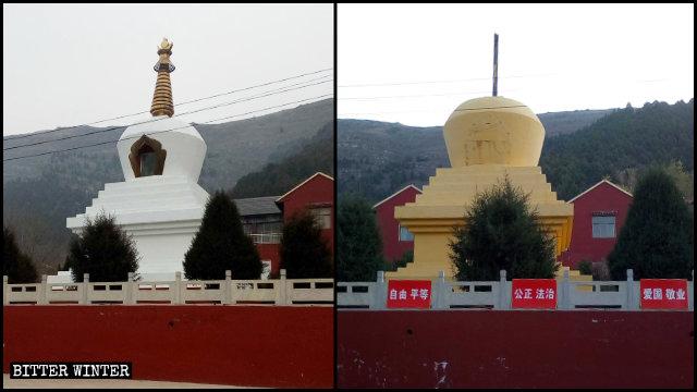 En agosto, las estupas del templo de Shengquan fueron pintadas de amarillo y sus picos dorados fueron retirados.