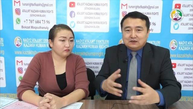 Dina Nurdybay con el activista kazajo de derechos humanos Serikzhan Bilash