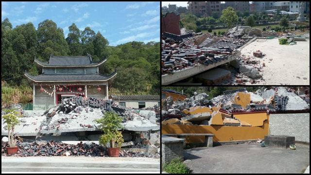 El templo de Qiyuan antes y después de su demolición.