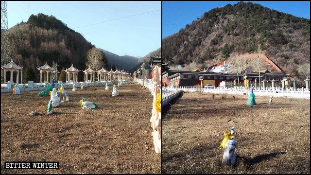 Estatuas situadas al aire libre en el Templo de Baiyun antes y después de ser demolidas.