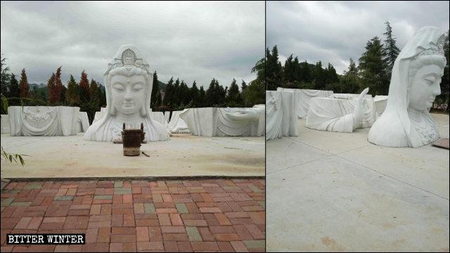 La estatua de Kwan Yin que se hallaba situada en el templo de Huayan fue dividida en siete partes.