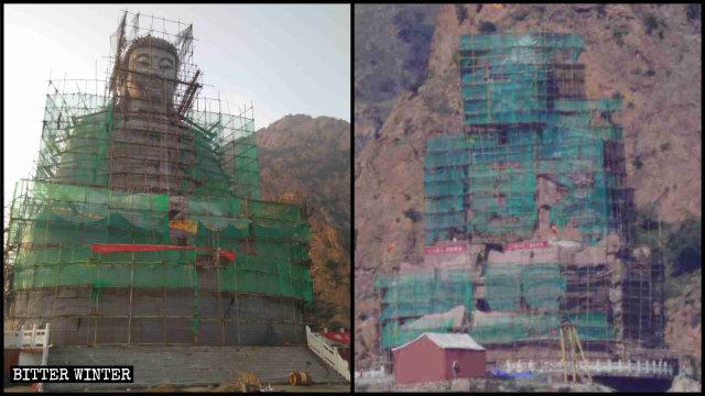La estatua de Shakyamuni en proceso de ser cubierta.