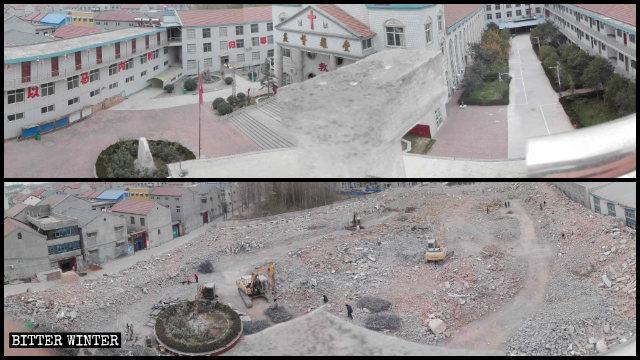 La iglesia de las Tres Autonomías emplazada en el condado de Yuanyang fue arrasada hasta los cimientos.