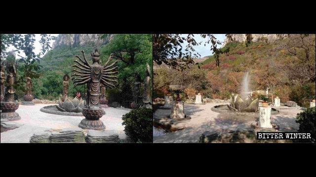 Las estatuas de los ocho budistas protectores de los 12 signos del zodíaco que se hallaban situadas en el área escénica fueron demolidas.