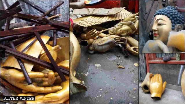 Las estatuas demolidas fueron sacadas a rastras, dejando atrás algunos escombros.